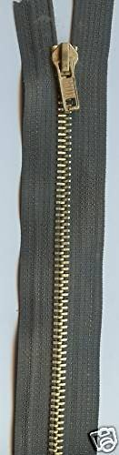 Minerva Crafts Heavy Brass Metal Closed End Jean Zips 15cm Khaki Green each