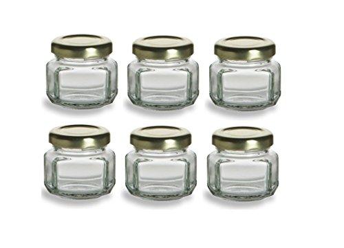 (Nakpunar 6 pcs, 1.5 oz Mini Oval Hexagon Glass Jars for Jam, Honey, Wedding Favors, Shower Favors, Baby Foods, DIY Magnetic Spice Jars)