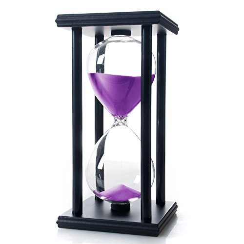 Hourglass Large (Bellaware 60 Minutes Hourglass, Wood Sand Timer,Purple)
