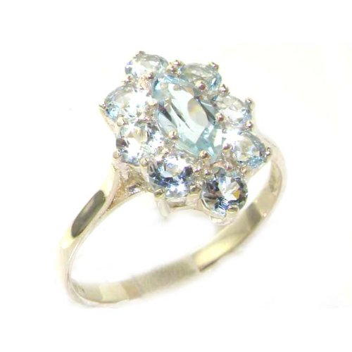 925 Sterling Silver Natural Aquamarine Womens Cluster Ring   Sizes 4 To 12 Available
