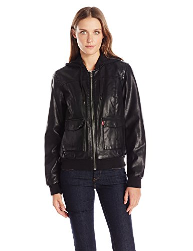Levi's Women's Faux-Leather Bomber Jacket with Jersey Knit Hood, Black Large