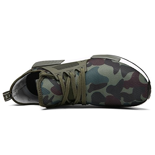 TIOSEBON Herren Camouflage Sneakers Leichte Casual Athletic Mesh Wanderschuhe Superstar Army Green Trainer A-1705 Grün