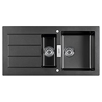 franke sirius sid651bl 15 bowl black tectonite reversible kitchen sink waste. Interior Design Ideas. Home Design Ideas