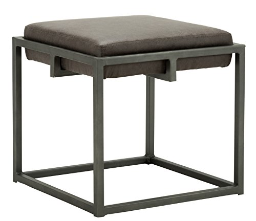 Chairus Ann PU Leather Ottomans with Metal Base Dark Brown (Leather And Ottoman Metal)