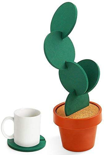 Coasters DIY Cactus Coaster Set of 6 Pieces with Flowerpot Holder for Drinks Novelty Gift for Home Office Bar Decor and Improvement, Sirensky Brand