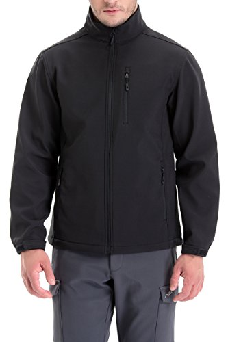 Trailside Supply Co. Men's Softshell Jacket Zip-Front Fleece-Lined Mens Outdoor Windproof Winter Outerwear(Black-S)