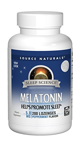 (Source Naturals Sleep Science Melatonin 5mg Sleep Support Peppermint Flavor - 200 Lozenges)