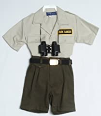 Protect the forest with this fun and functional children's Park Ranger outfit. Comes with Khaki short-sleeve shirt and Olive elastic waistband shorts. Includes web belt and accessories.