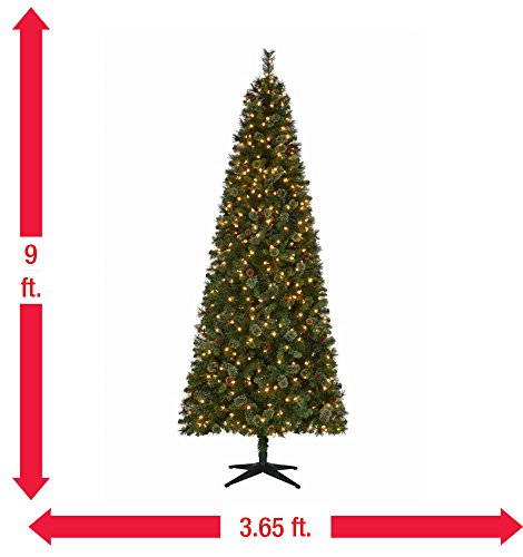 pre lit led alexander pine quick set artificial christmas tree with pinecones and warm white lights home kitchen - 65ft Christmas Tree