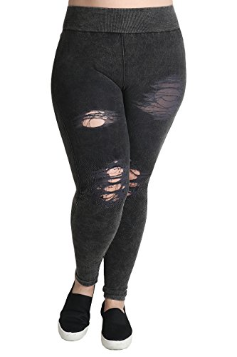 NIKIBIKI Women Seamless Vintage Modal Distressed Leggings, Plus Size (Vintage Charcoal)