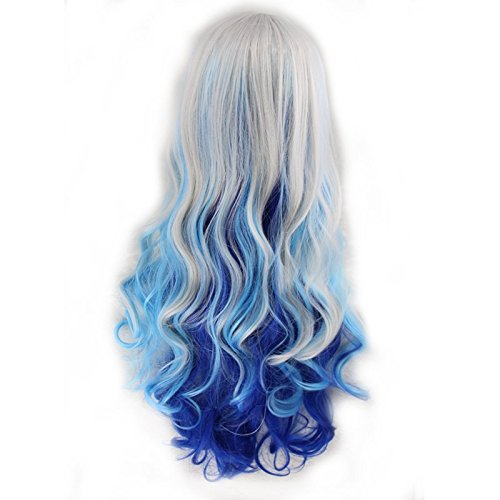 [Simpleyourstyle Ombre Anime Cosplay Curl Wigs for Women 80cm / 32inch With Wig Cap (Silvery Gray /Blue] (Blue Wigs For Women)