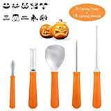 Professional Pumpkin Carving Kit Tools- 5Pcs Heavy Duty Stainless Steel Carving Tools with 10 Carving Stencils DIY Halloween Jack-O-Lantern for Halloween Decorations Review