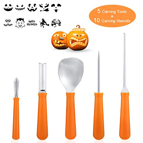 Professional Pumpkin Carving Kit Tools- 5Pcs Heavy Duty Stainless Steel Carving Tools with 10 Carving Stencils DIY Halloween Jack-O-Lantern for Halloween Decorations]()
