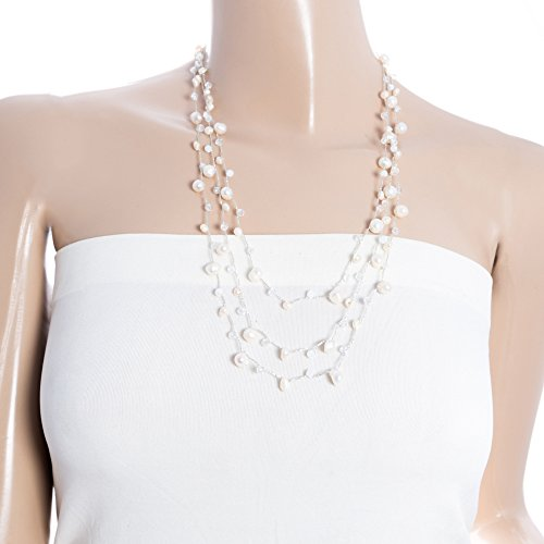 White Genuine Cultured Freshwater Pearl Crystal Beads Three (3) Strand Silk Thread Necklace 24 - 26