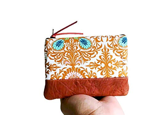 Floral Brown Leather Coin Purse, Coin Pouch, Small Coin Purse, Change Purse by 144 Collection