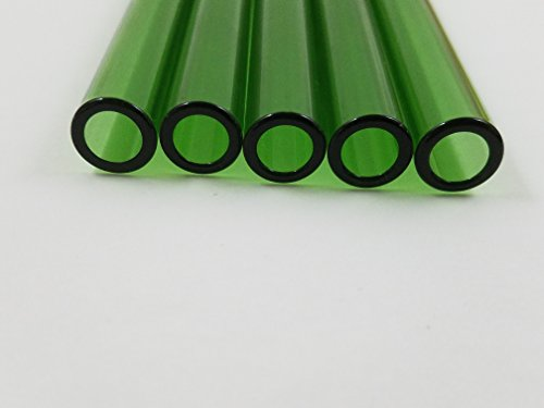 Borosilicate Glass Blwoing Tubing Colored Tubes 12mm OD Thick Wall 4 , 6 , 8 Inch Long (4 inch 5 pc, L Green)