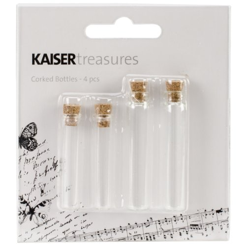 Kaisercraft TM816 Treasures Corked Bottle, 4-Pack