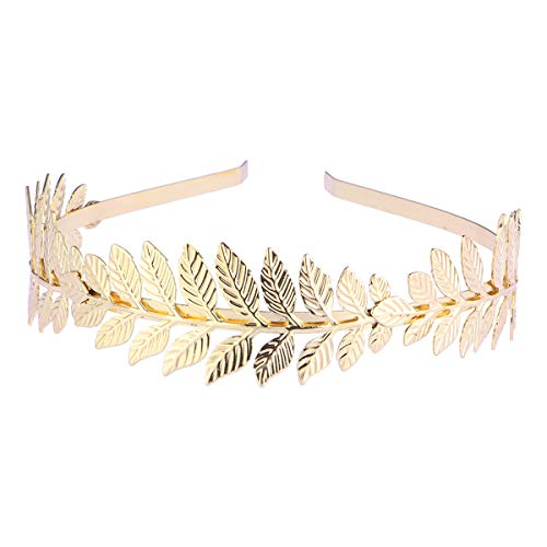 Tinksky Roman Goddess Leaf Branch Dainty Bridal Hair Crown Head Dress Band (Gold)