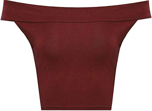 WearAll Women's Off Shoulder Plain Short Crop Bandeau Open Cowl Neck Top - Wine - US S/M=4-6 (UK M/L=8-10)