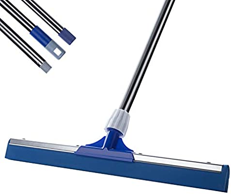 Amazon Com Heavy Duty Floor Squeegee 50 6 Long Handle Ycute 17 7 Dual Eva Foam Moss Perfect For Washing And Drying Tile Glass Marble And Wood Surfaces Garden Outdoor