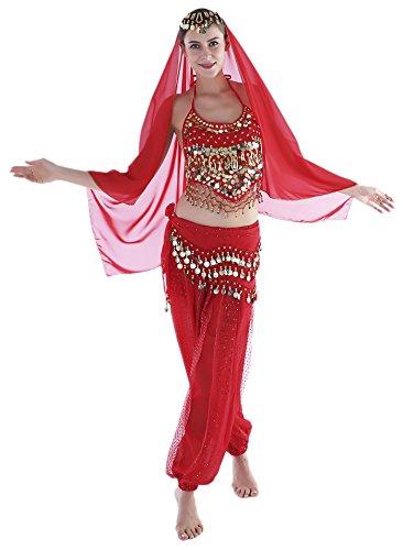 Seawhisper Red Adult Genie Costumes Women Arabian Belly Dancer Costume Pants Top Veil -