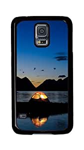 Samsung Galaxy S5 Case, S5 Cases - Night Sea Water Tents Ultimate Protection Scratch Proof Soft TPU Rubber Bumper Case for Samsung Galaxy S5 I9600 Black