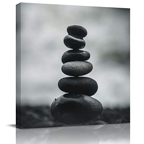 Canvas Wall Art - Black And White Stacked Stones Canvas Artwork Prints Contemporary Wall Art Decor For Home Living Room Bedroom Decoration Office Wall Decor Framed Ready To Hang 20X20In