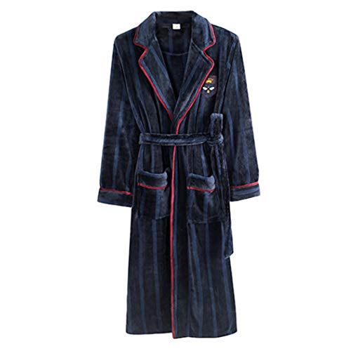 Spring Autumn Bathrobe Flannel Dressing Gown Pajamas Long-Sleeved Sleepwear Large Size Youth Warm ()