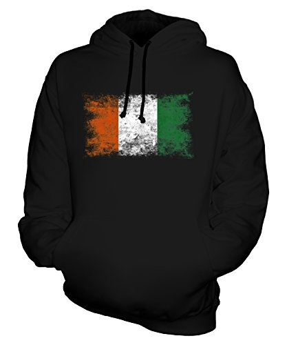 - CandyMix Unisex Ivory Coast Distressed Flag Mens/Womens Hoodie, Size X-Large, Color Black