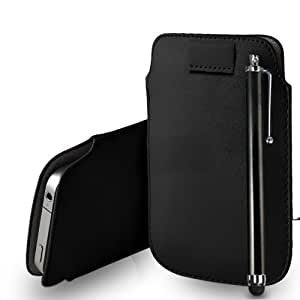 Nokia Lumia 720 Cuero Negro Tire Tab caso de la cubierta Pouch + Touch Pen Stylus + paño de pulido