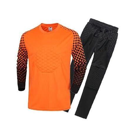 FidgetFidget Mens Soccer Goalkeeper Sponge Protector Suit Camisetas De Futbol OrangeUS S/Asian L