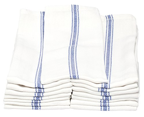 Melange 180 PACK Classic Kitchen Towels, 100% Natural Cotton, 14 x 25, Commercial Restaurant Grade, Herringbone Weave Dish Cloth, Absorbent and Lint-Free, Machine Washable, White with Blue Stripe by Dish Basics