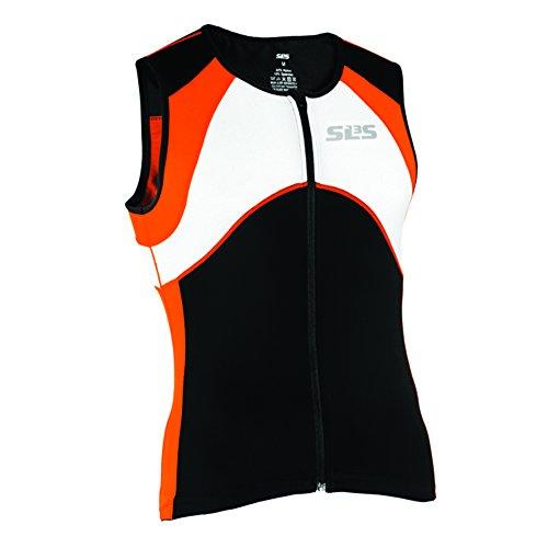 Triathlon SLS3 Men`s FX Tri Top 3 Pockets Full Zipper Jersey - Singlet -Tank (Orange, M)