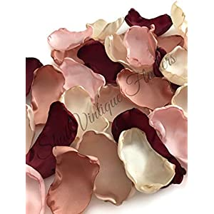 Maroon blush pink ivory champagne and rose quartz 100 flower petals wedding decor bridal shower decor baby shower decor flower girl petals 86