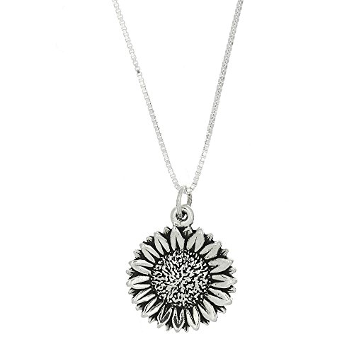 Sterling Silver One Sided Gardener Sunflower Necklace (16 Inches)