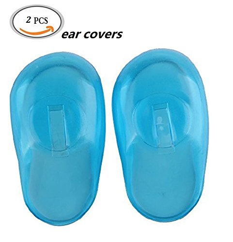 2Pcs / 1Pairs Silicone Protector Ear Covers Hair Dye Ear Shield (Blue) for Spa, Home Use, Hotel and Hair Salon by DAXUN