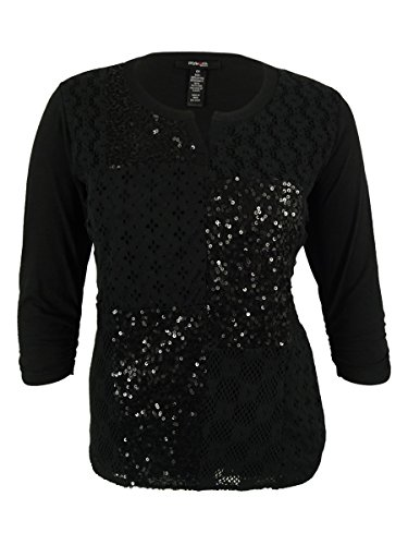 Style & Co. Women's Sequined 3/4 Ruched Sleeves Top (0X, Deep Black) (Sequined 3/4 Sleeve Top)