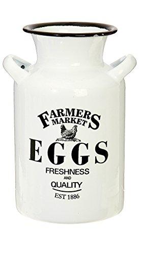 RAZ Imports Utensil Caddy Crock Holder Organizer Farm Fresh White Enamelware 8