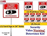 """Security Sign & Security Decal - #203 1 Video CCTV Security Surveillance Camera System Warning Sign & Decal Sticker Kit– Commercial Grade 1 on 36"""" Aluminum Stake with Safety Cap, 2 Gate Signs & 8 Decals."""