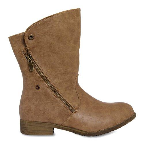 CASPAR Womens Vintage Ankle Boots / Boots / Cowboy Boots - various colours - SBO020 Khaki