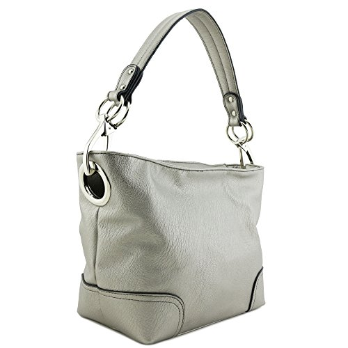 Metallic Satchel Handbag - Small Hobo Shoulder Bag with Snap Hook Hardware Dark Silver