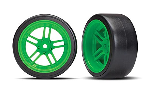 Traxxas 8377G Wheels with Drift Tires, Green
