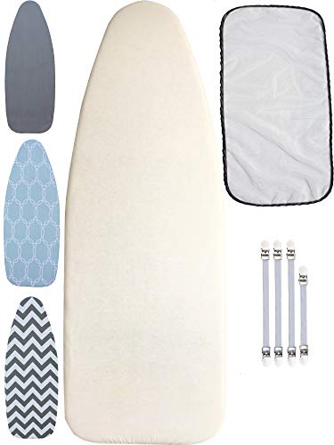 """Balffor Padded Ironing Board Covers for 18"""" x 49"""" Wider Size Boards - Protective Mesh - 4 Fasteners - (Natural Beige)"""