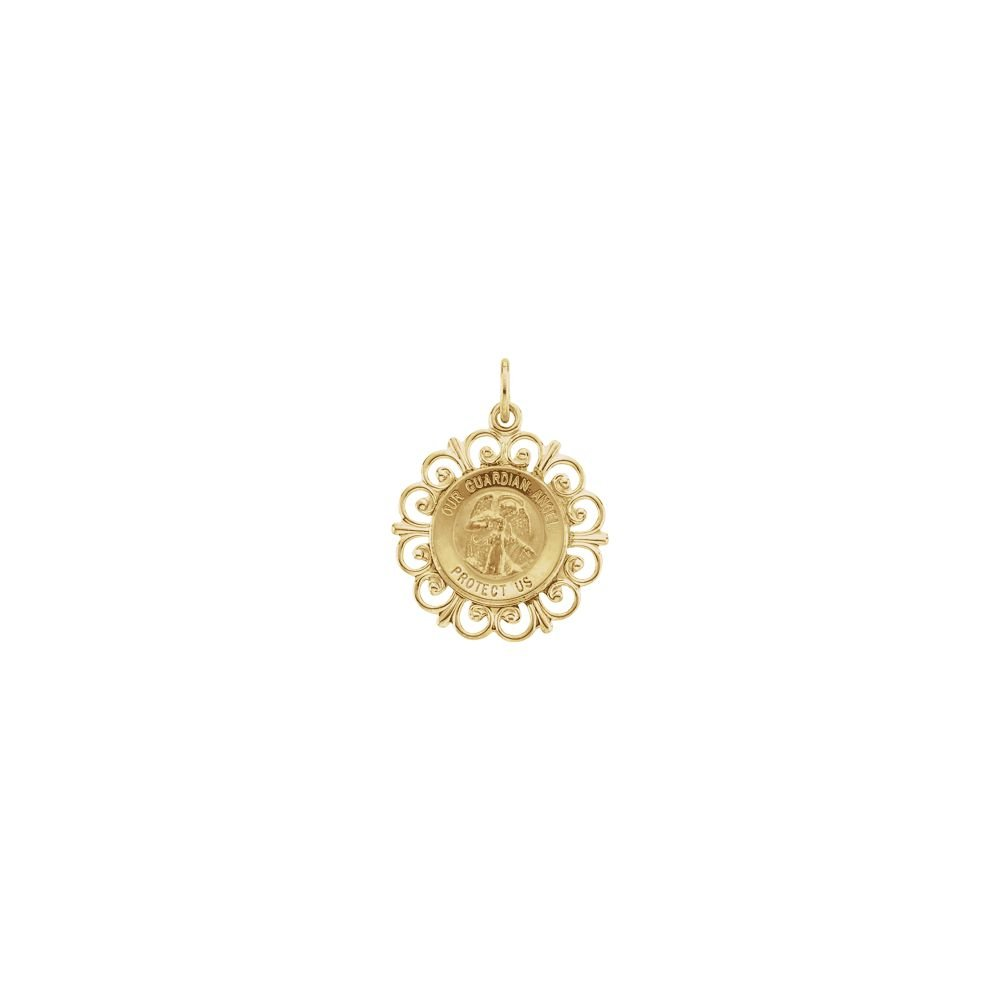 14K Yellow Gold 18mm Round Guardian Angel Pendant Medal