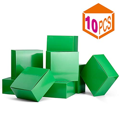 MESHA Gift Boxes 8x8x4in Gift Boxes for Bridesmaids 10Pack White Kraft Gift Boxes with Lids for Crafting, Cupcake Boxes(Green)