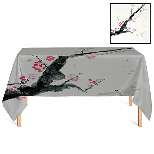 SATVSHOP Kitchen Tablecloth /55x70 Rectangular,Country Branch of A Pink Cherry Blossom Sakura Tree Bud and A Dragonfly Dramatic Artisan Jungle Green and Pink.for Wedding/Banquet/Restaurant.