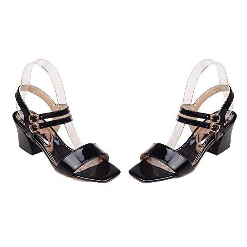 Maiale Pelle Nero Sandali Donna Punta di CCALLO011866 Tacco Medio Fibbia Aperta VogueZone009 8Ywqag