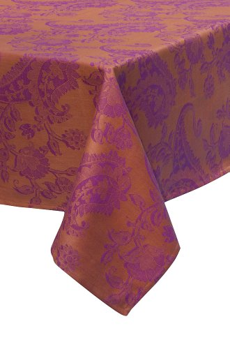 Mahogany Paisley Square Jacquard Tablecloth, 60 by 60-Inch, Orange ()