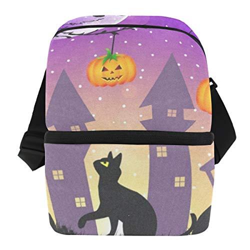 Lunch Bag Halloween Pumpkin Owl Black Cat Portable Cooler Bag Womens Leakproof Food Box Zipper Tote Bags for Wine