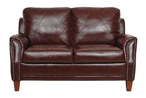 Amazon.com: Luke Leather Austin Loveseat, Sienna: Kitchen ...